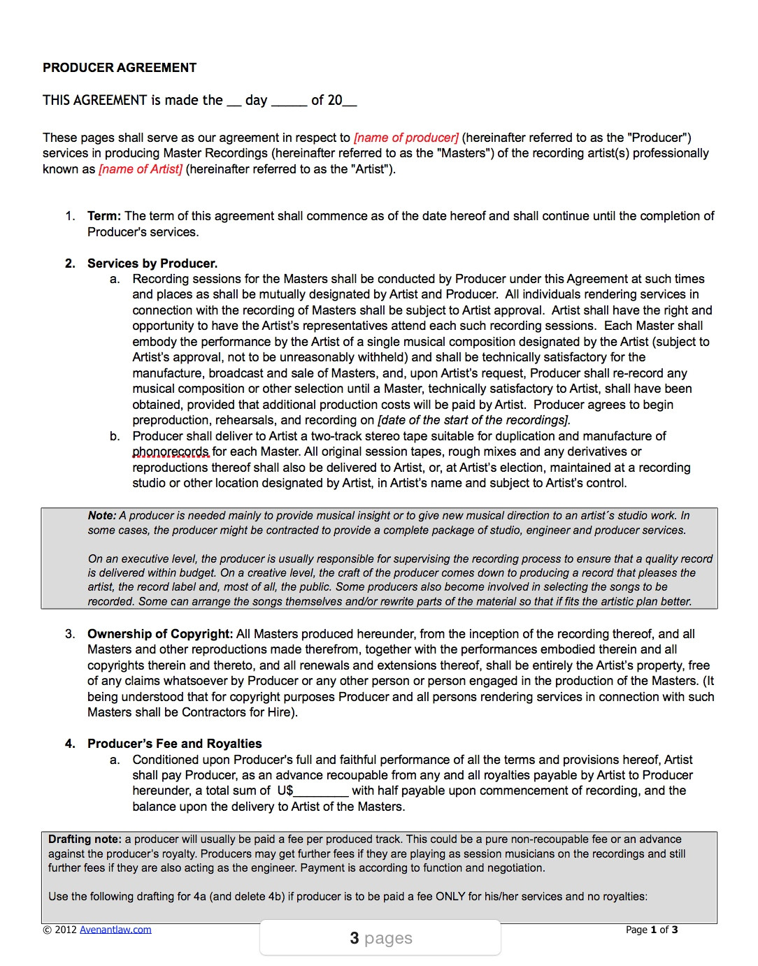 49605 music producer agreement template