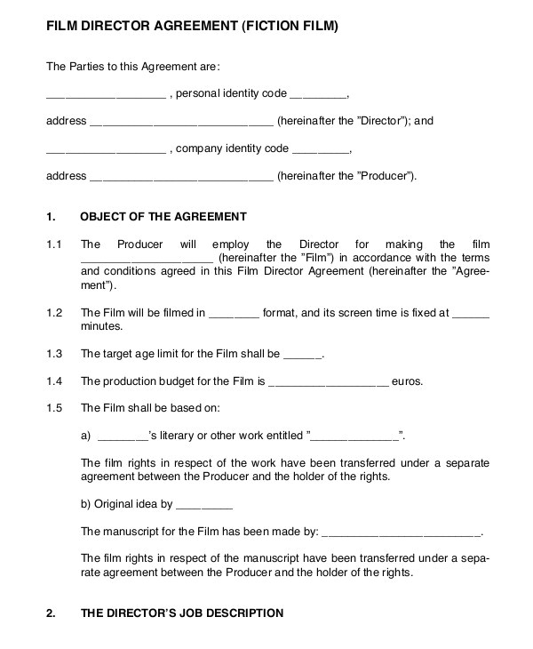 Executive Producer Contract Template 9 Director Agreement Templates Free Sample Example