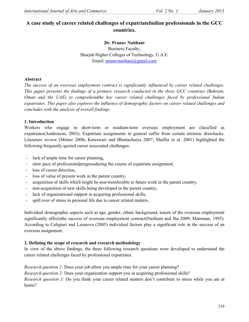 Expatriate Contract Of Employment Template Pdf A Case Study Of Career Related Challenges Of