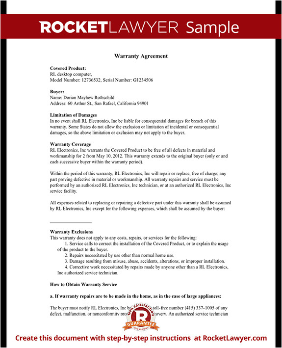 Extended Warranty Contract Template Warranty Agreement Template Warranty Agreement with Sample