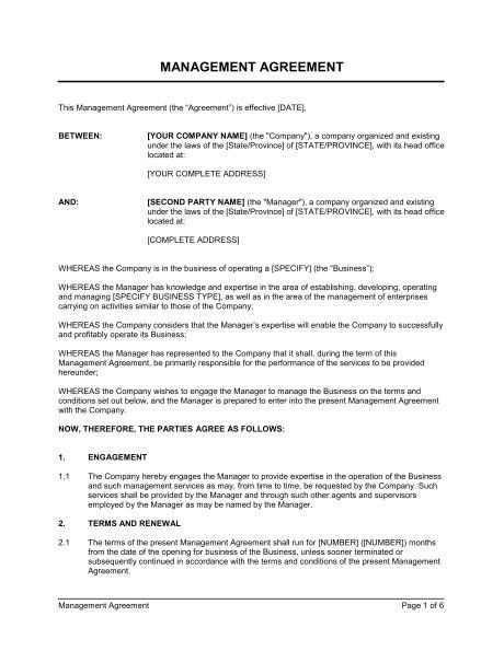 management agreement d163