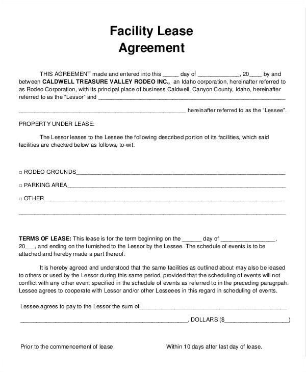 Facility Rental Contract Template 9 Facility Agreement Templates Free Sample Example
