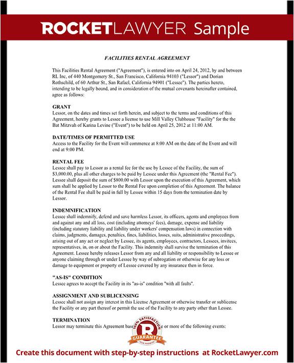 facilities rental agreement rl
