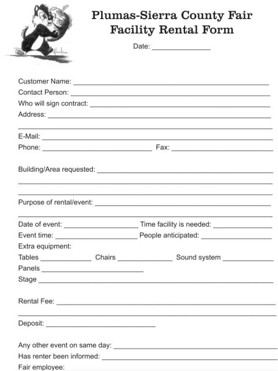 Facility Rental Contract Template Facility Rental form Plumas Sierra County Fair August 14