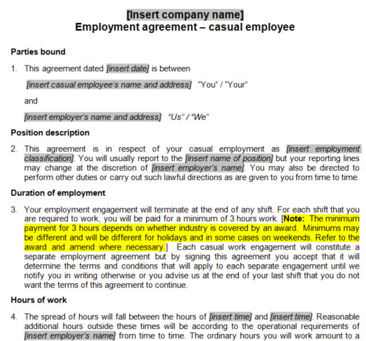 Fair Work Employment Contract Template Casual Employment Contract Template