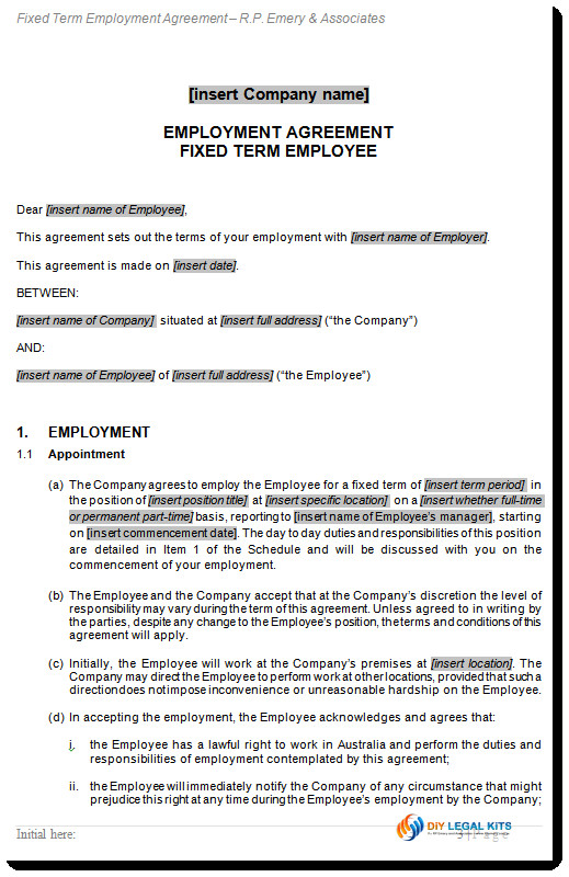 Fair Work Employment Contract Template Employment Contract Fixed Term Agreement