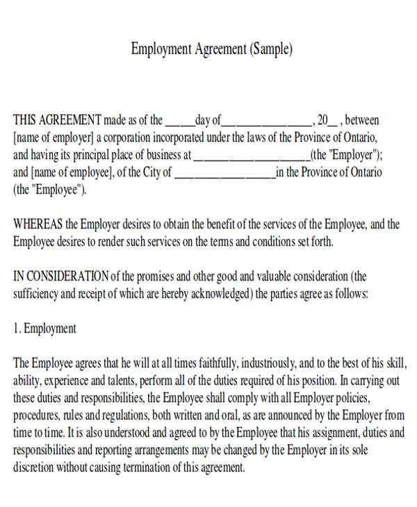 Fair Work Employment Contract Template Job Agreement Contract Sample 7 Examples In Word Pdf