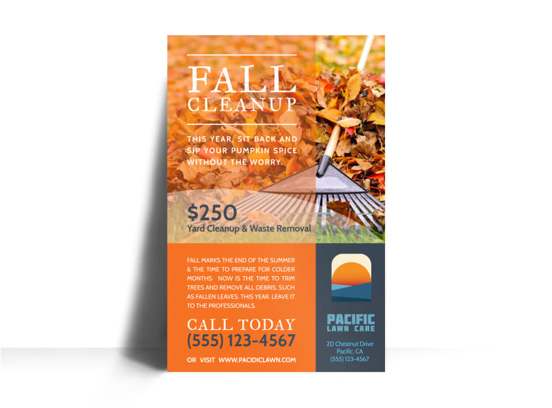 lawn mowing fall cleanup poster template