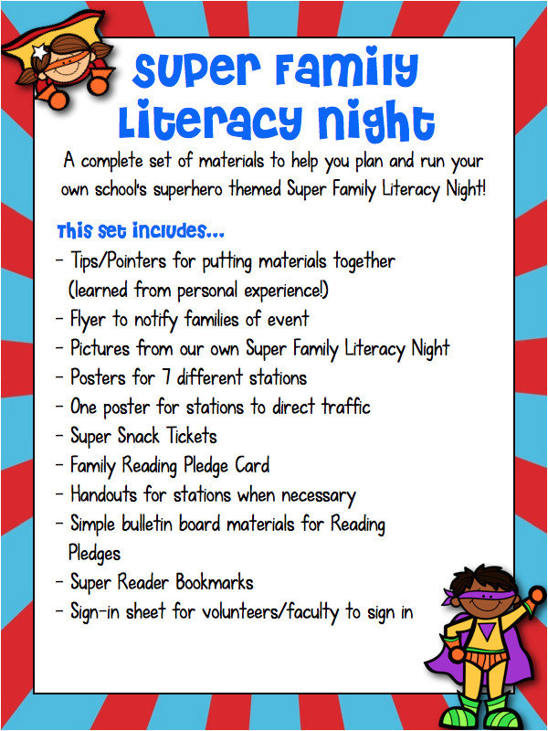 super family literacy night superhero