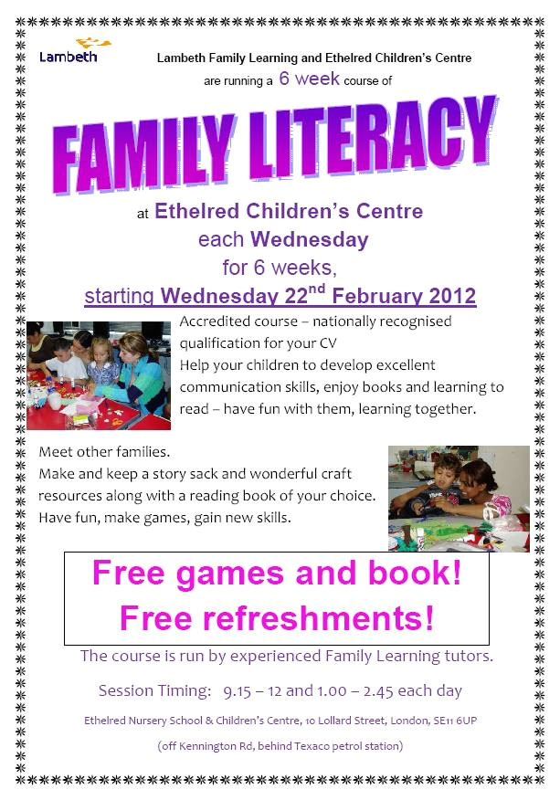 family literacy course starting 22nd