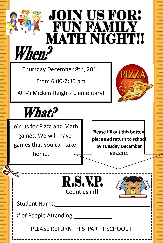 math night flyer december 8th