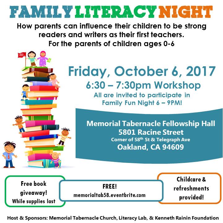 memorial tabernacle family literacy night