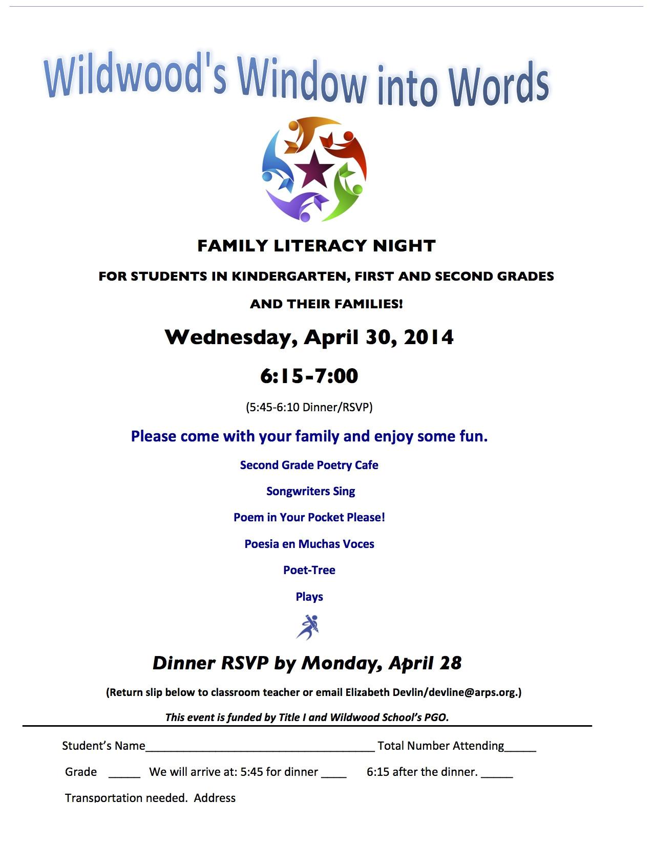 wildwood k 2 family literacy night april 30