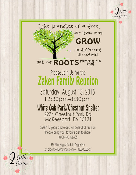 family reunion invite printable digital