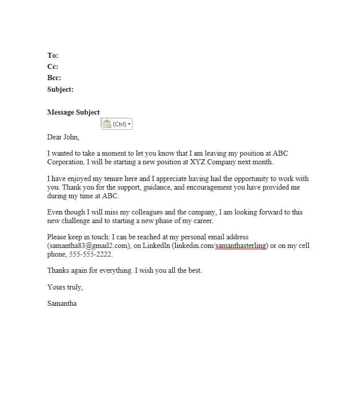 Farewell Email Template to Colleagues 40 Farewell Email Templates to Coworkers ᐅ Template Lab