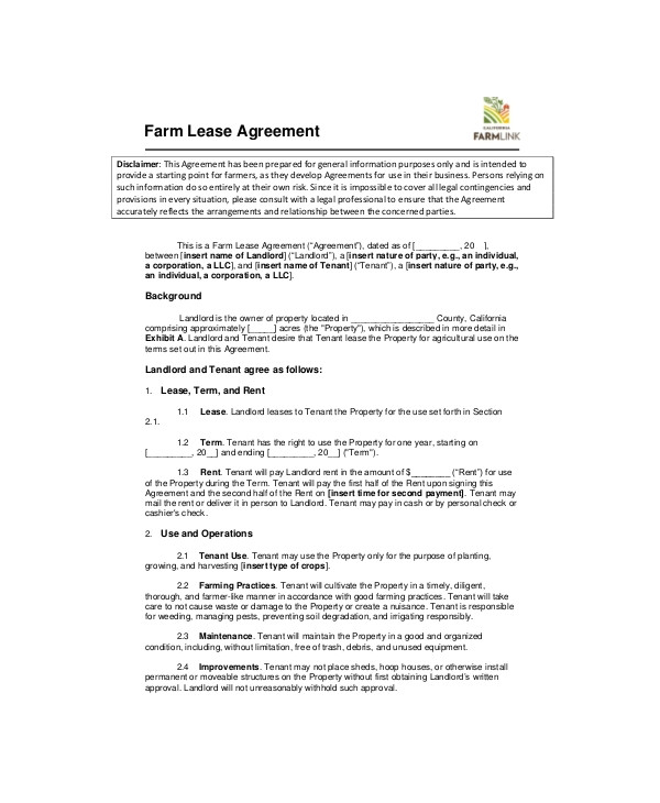 Farm Land Rent Contract Template Land Lease Template 7 Free Word Pdf Documents Download