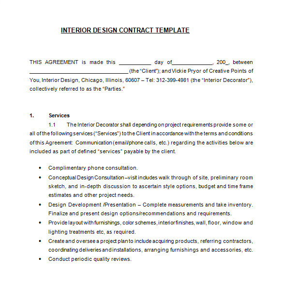 interior designer contract template