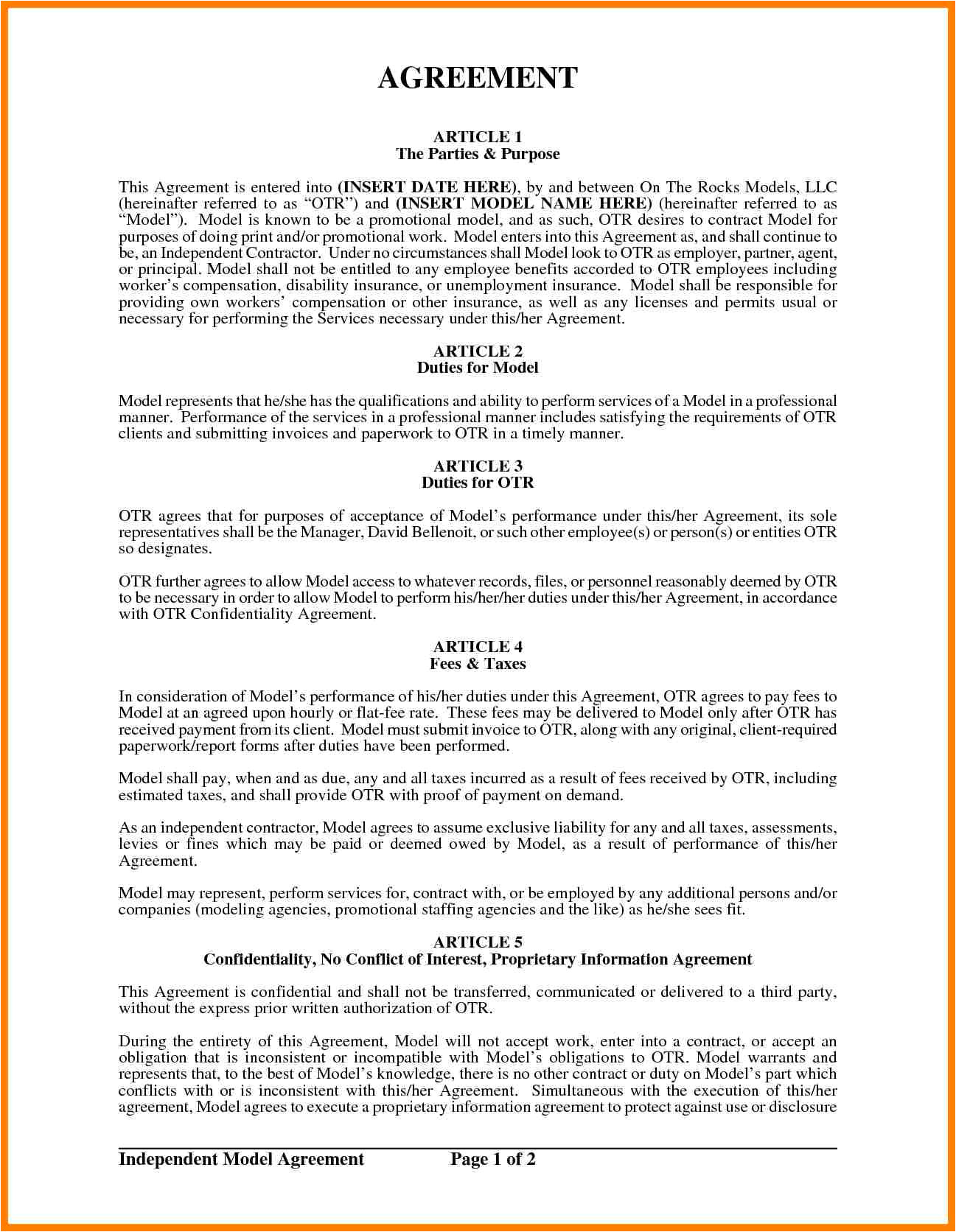 Fashion Model Contract Template 7 Fashion Model Contract Weekly Template