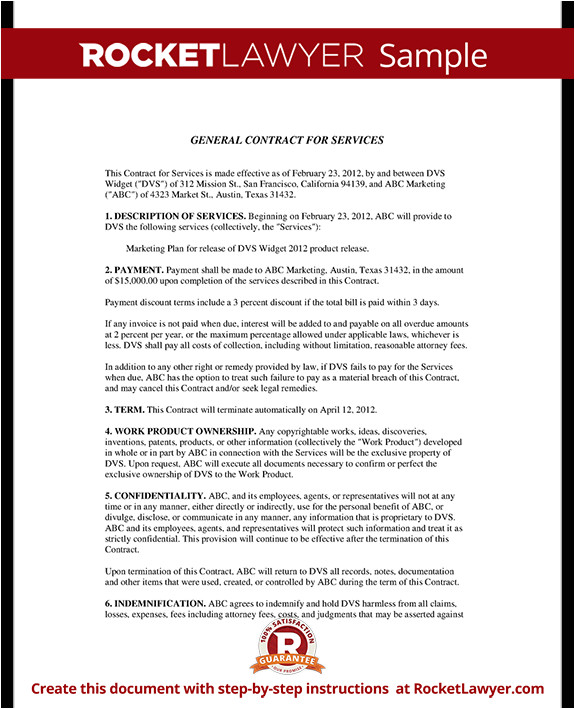 general contract for services rl