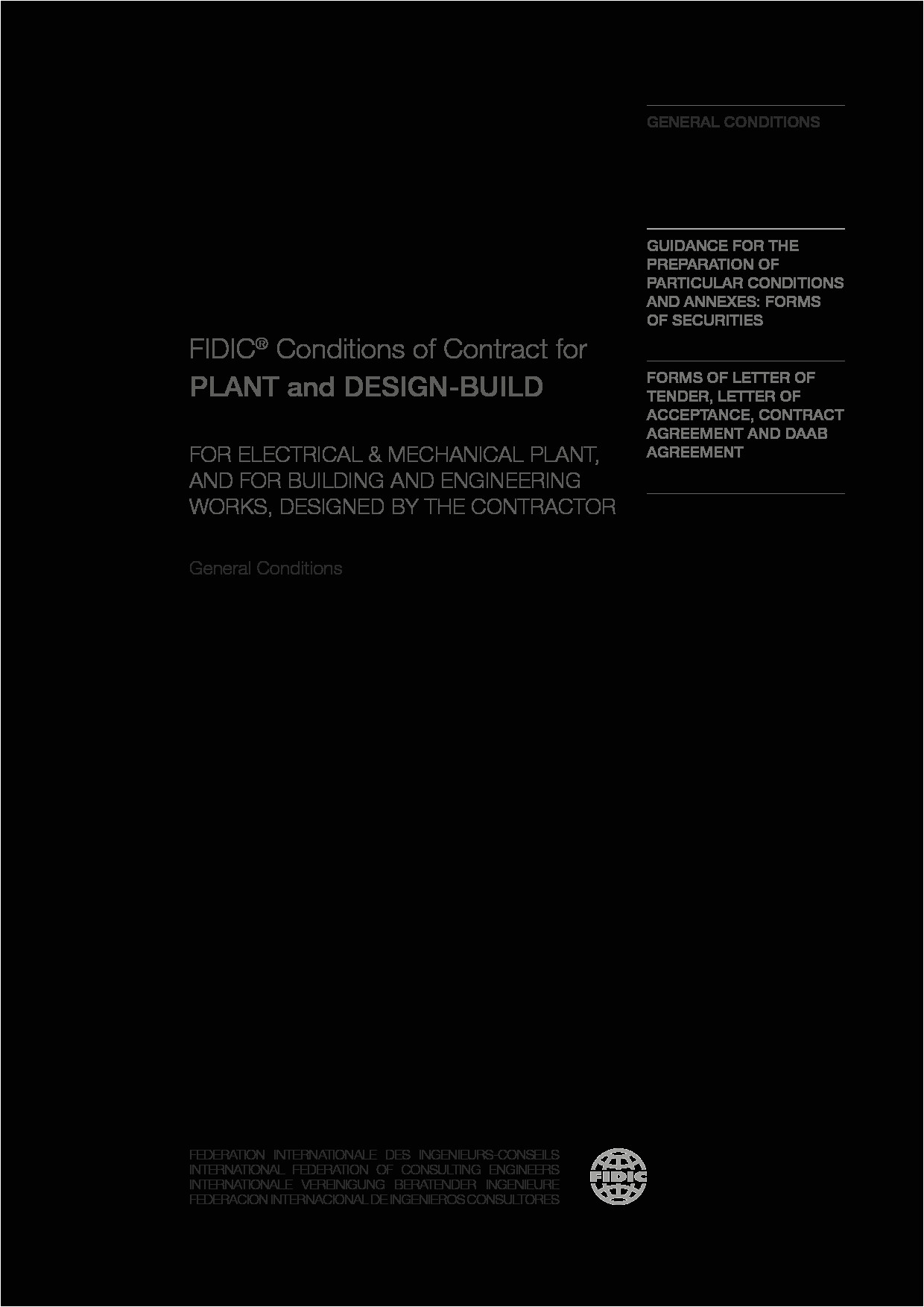 Fidic Yellow Book Contract Template Plant and Design Build Contract 2nd Ed 2017 Yellow Book
