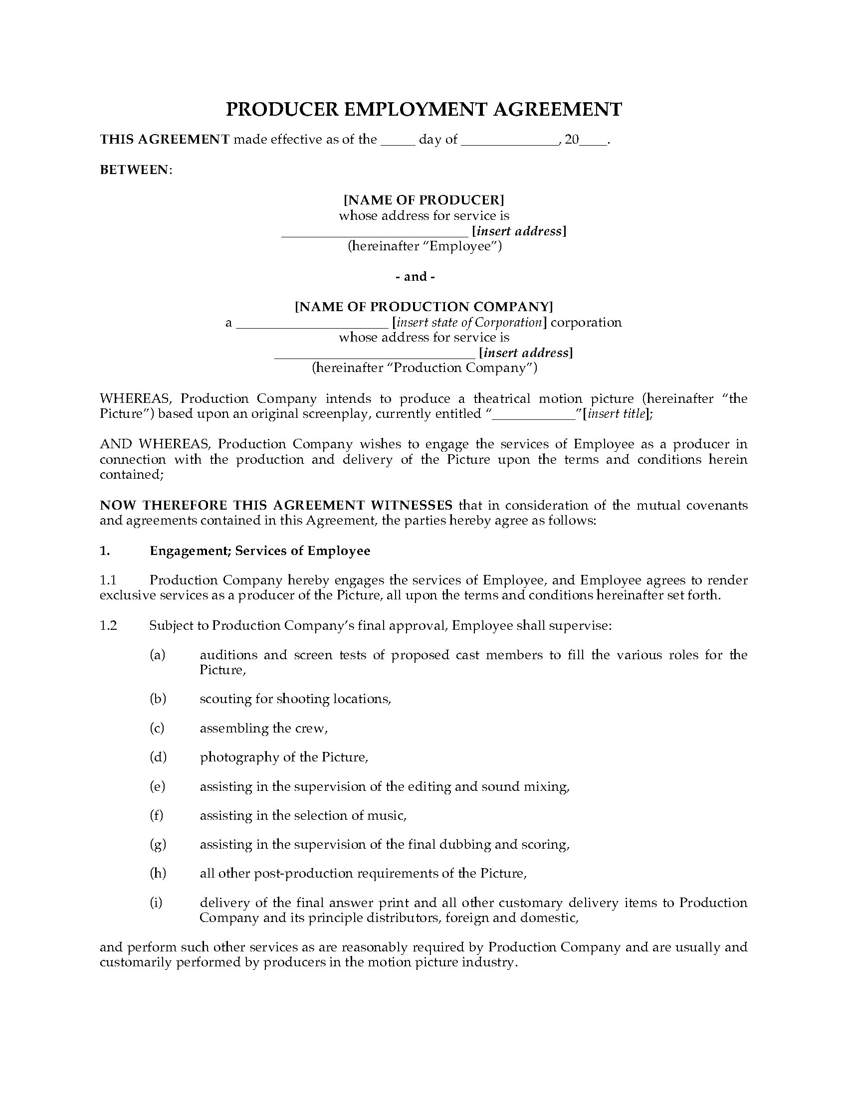 film producer employment contract