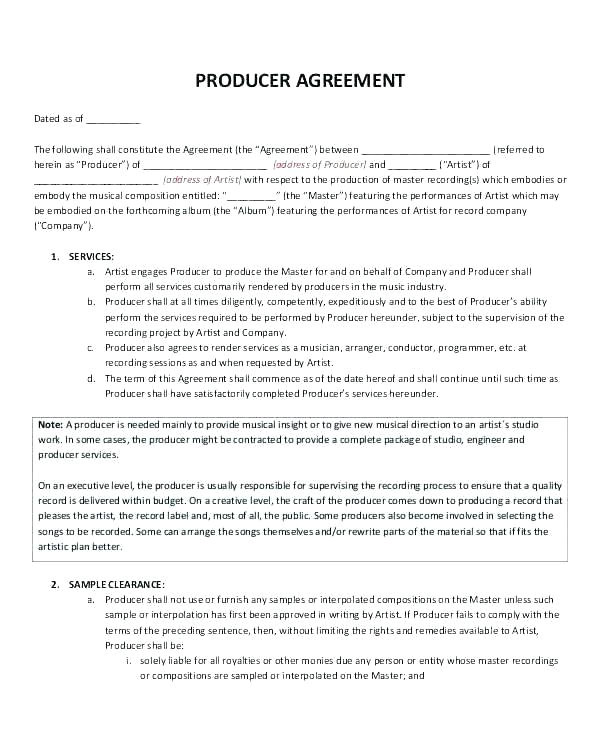 sample deal memo contract