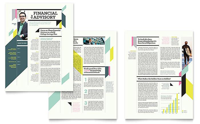 personal finance newsletter template design fn0330301