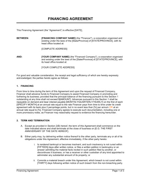 financing agreement d877
