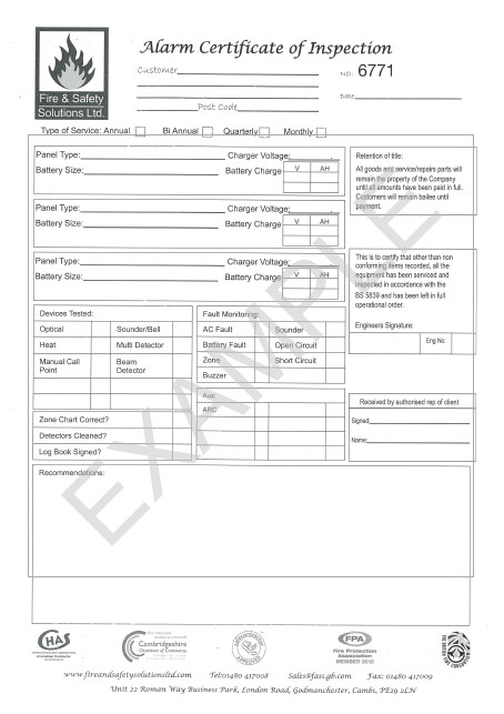 Fire Alarm Service Contract Template Fire Safety Equipment Servicing Maintenance Fire