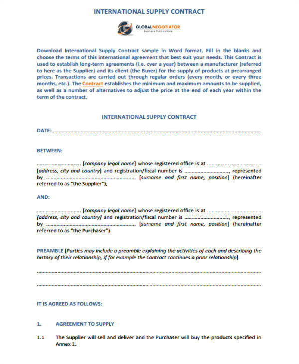 Firm Fixed Price Contract Template 11 Supply Contract Samples Templates Pdf Doc