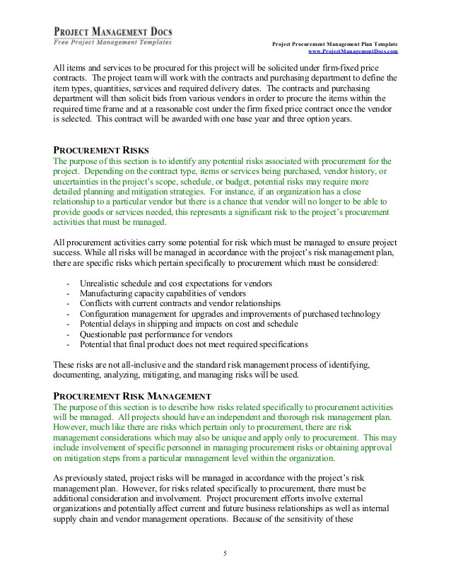 Firm Fixed Price Contract Template Procurement Management Plan