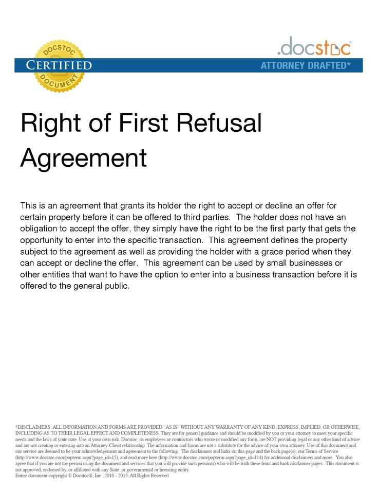 First Right Of Refusal Contract Template 25 Best Ideas About Right Of First Refusal On Pinterest