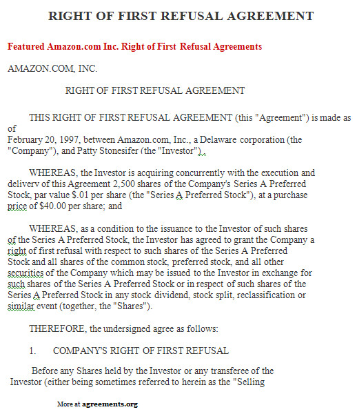 right of first refusal agreement