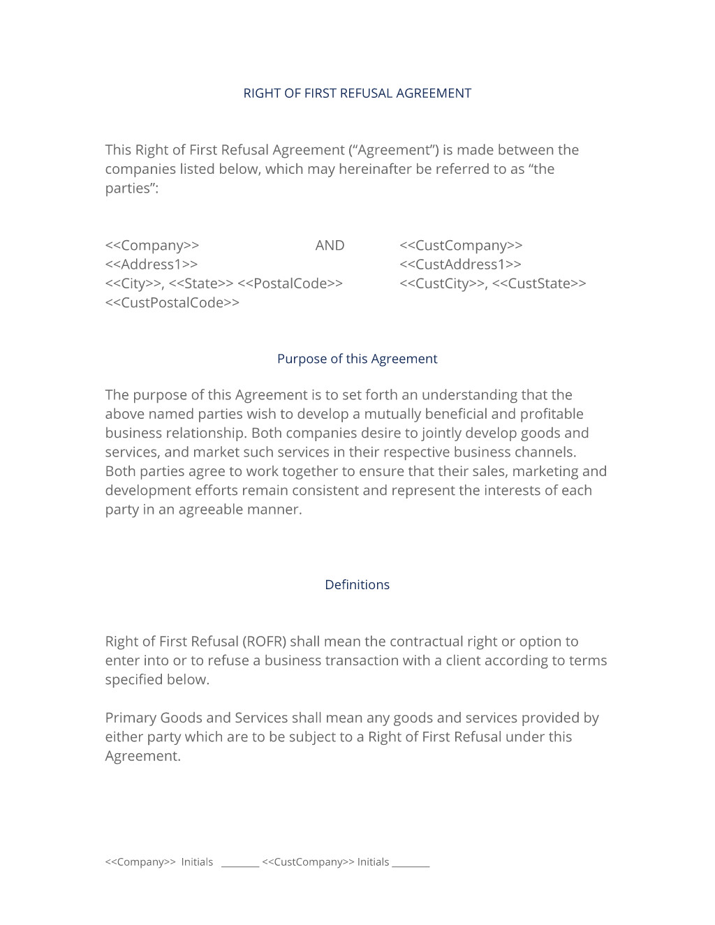 right of first refusal partnership agreement