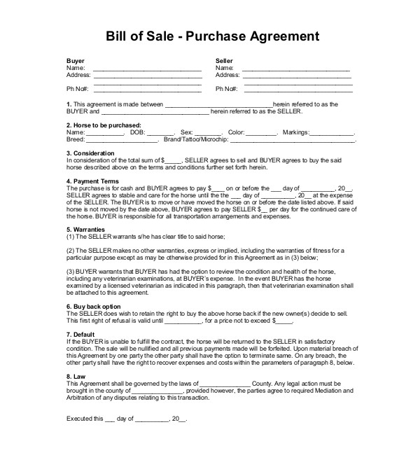 horse bill of sale form