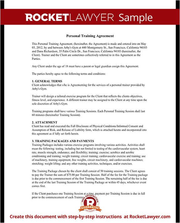 personal training agreement rl