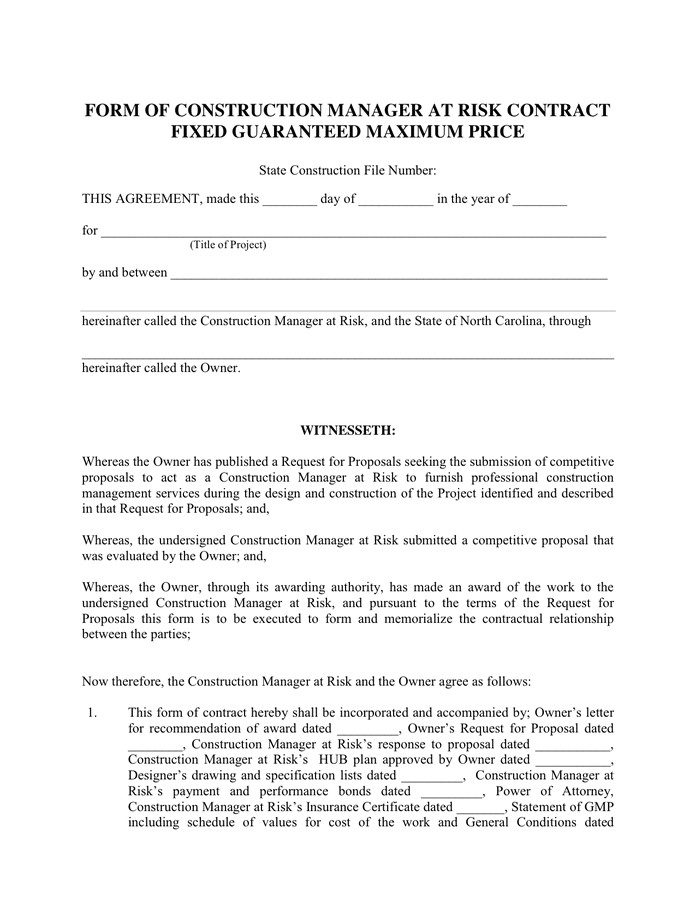 Fixed Price Construction Contract Template form Of Construction Manager Contract In Word and Pdf