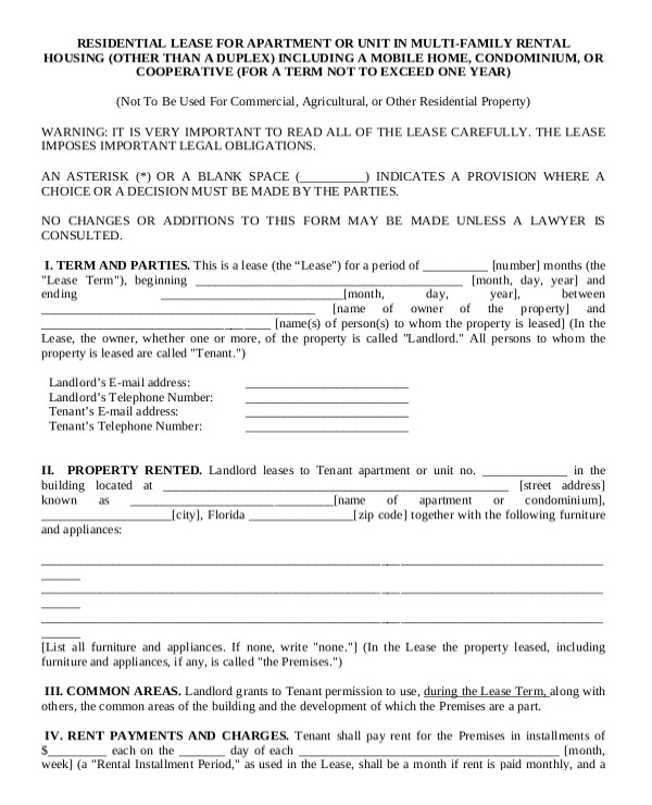 apartment rental contract sample