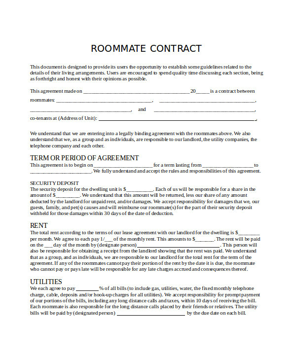 Flatmate Contract Template 8 Roommate Contract Templates Word Google Docs Apple