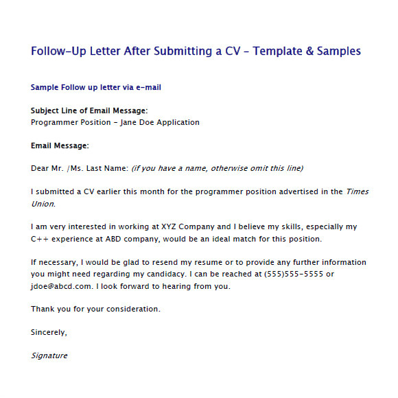 sample follow up email