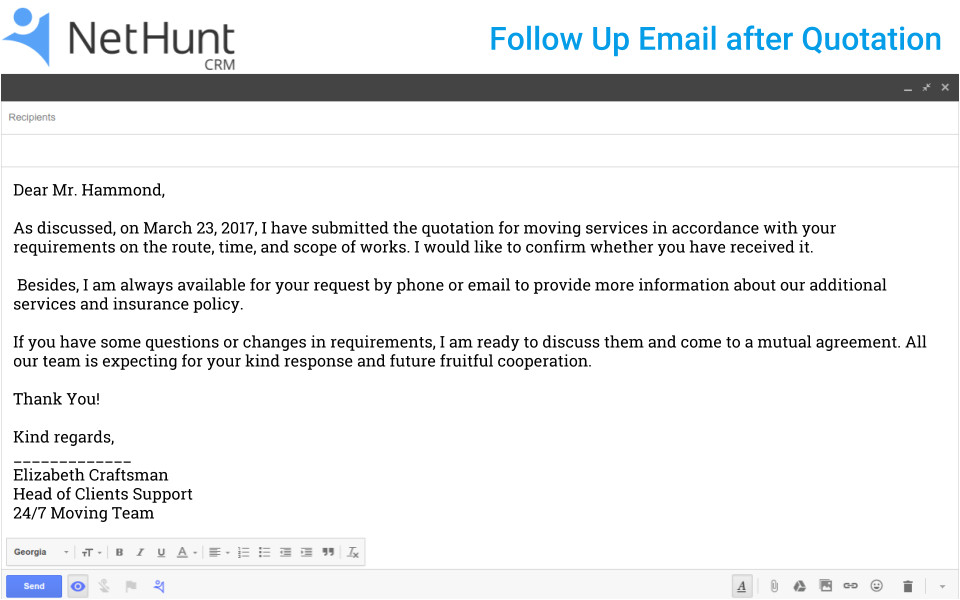 how to write a follow up email to client after quotation jsp