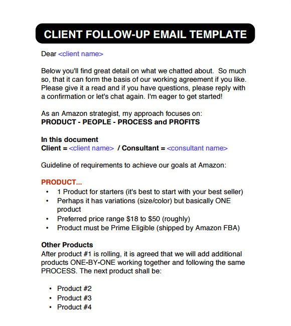 Follow Up Email Template to Client Sample Follow Up Email 5 Examples format