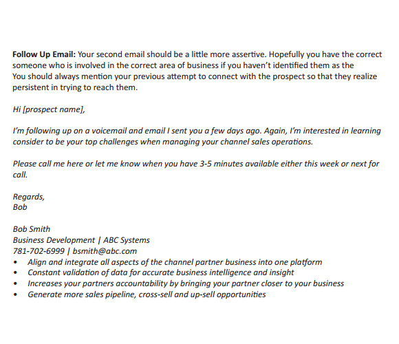 Follow Up Email Templates for Business Sample Follow Up Email 5 Examples format