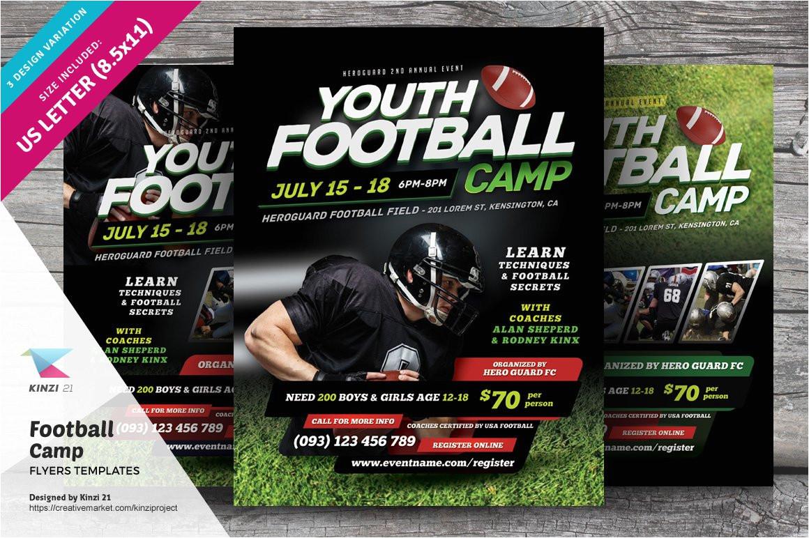 499234 football camp flyer templates