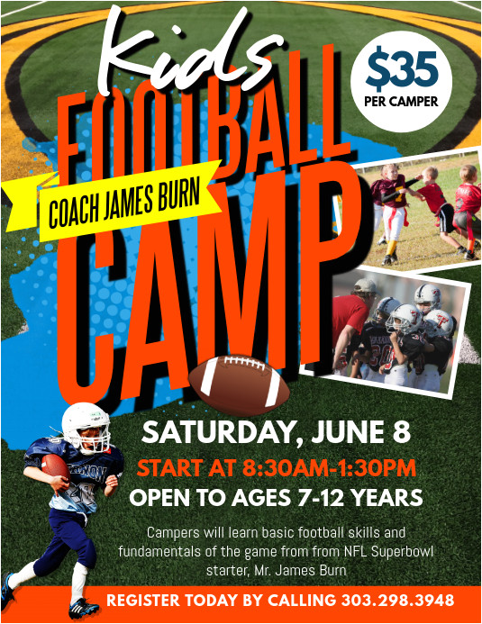 football camp poster template