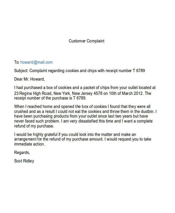 complaint email