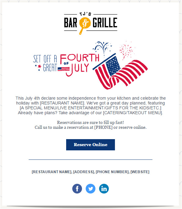 Fourth Of July Email Template July 2017 Marketing and Holiday Planning Constant