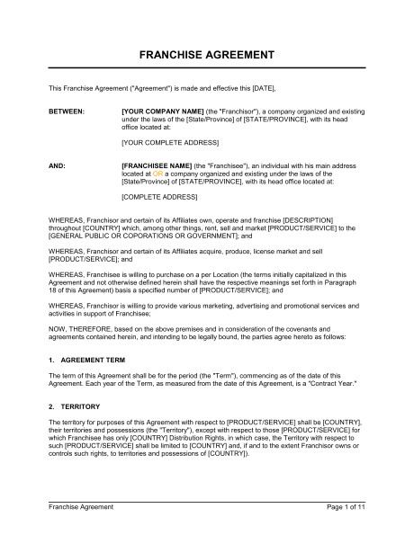 Franchise Contract Template Free Franchise Agreement Template Word Pdf by Business In