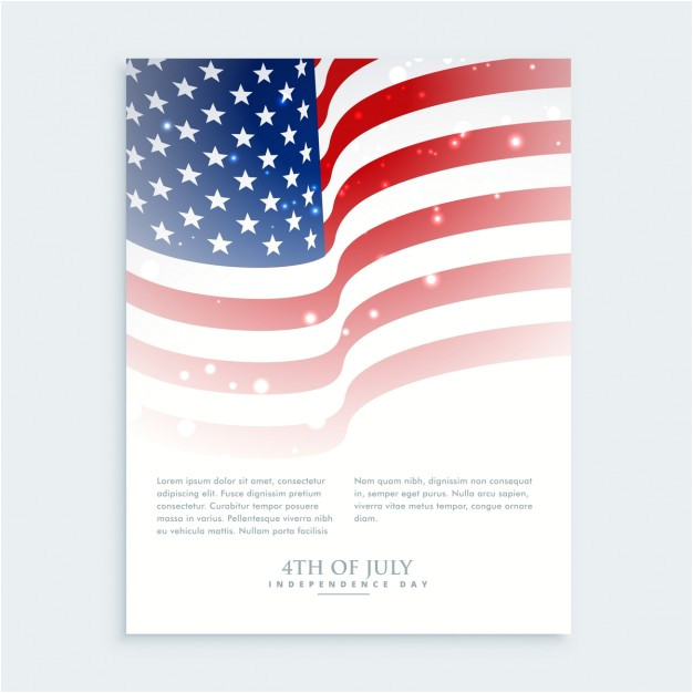 flyer of 4th of july with american flag 895045