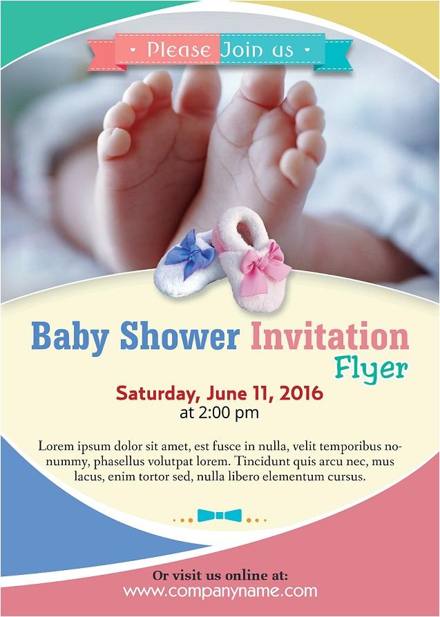 baby shower flyer template photoshop version